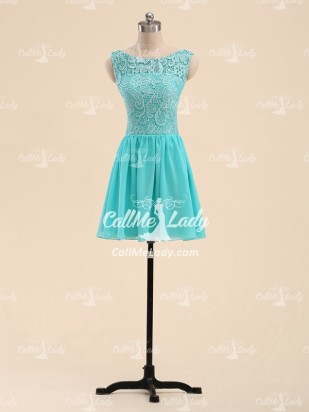 A-line scoop lace short party dresses/ bridesmaid dress - CallMeLady