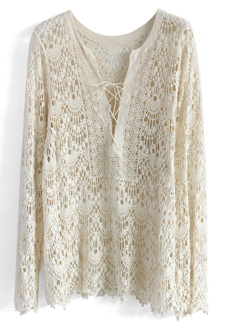 top crochet all the way tunic in off-white chicwish crochet top crochet tunic summer tunic off-white tunic lace top white lace top