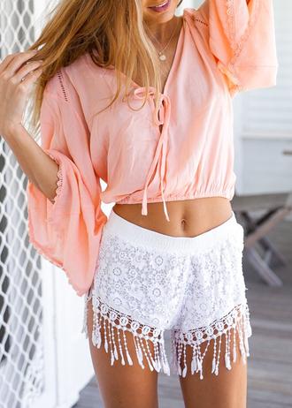 blouse disheefashion shorts lace shorts white shorts crop suit