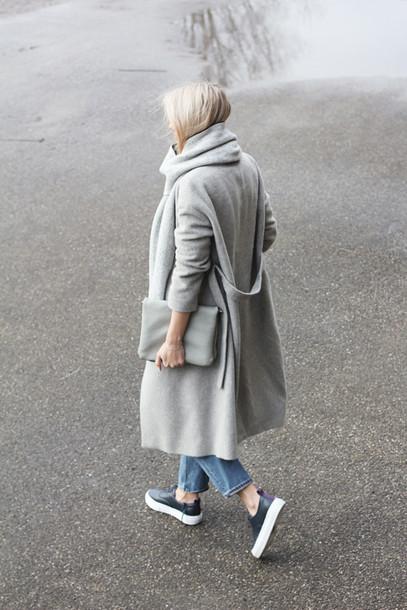 shoes sneakers grey coat