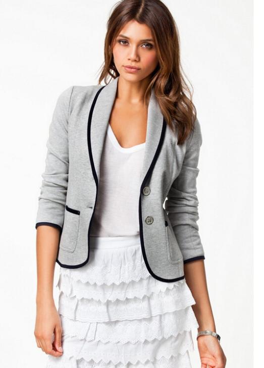 2014 New Blazer Women Fashion Women's Spring Slim Short Design Turn-down Collar Blazer Grey Short Coat Jackets for women AD199 | Amazing Shoes UK