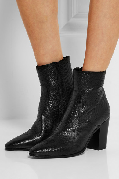 cce0f5290 Saint Laurent | Snake-effect leather ankle boots | NET-A-PORTER.COM