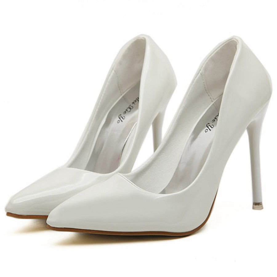 White patent high heel stiletto court shoes