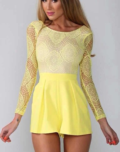 cea47171b12c yellow lace playsuit