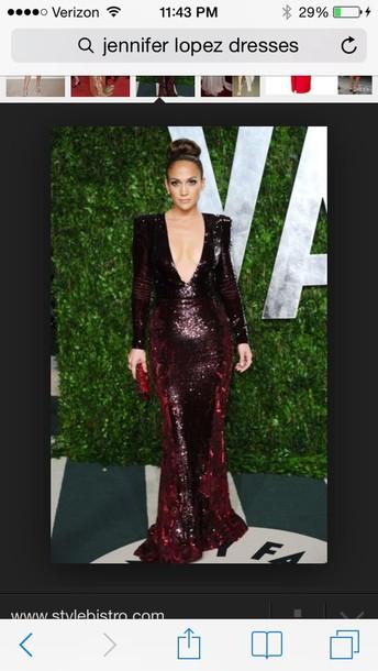 dress red dress burgundy dress jennifer lopez prom dress low v neck long