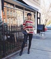 sweater,knitwear,knitted sweater,stripes,striped sweater,pants,leather pants,black pants,boots,black boots,hat,fisherman cap