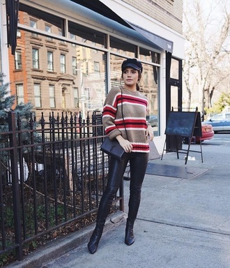 sweater knitwear knitted sweater stripes striped sweater pants leather pants black pants boots black boots hat fisherman cap