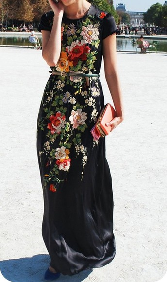 prom maxi dress embroidered embroidery tapestry maxi floral dress streetstyle fashion week pretty bitches