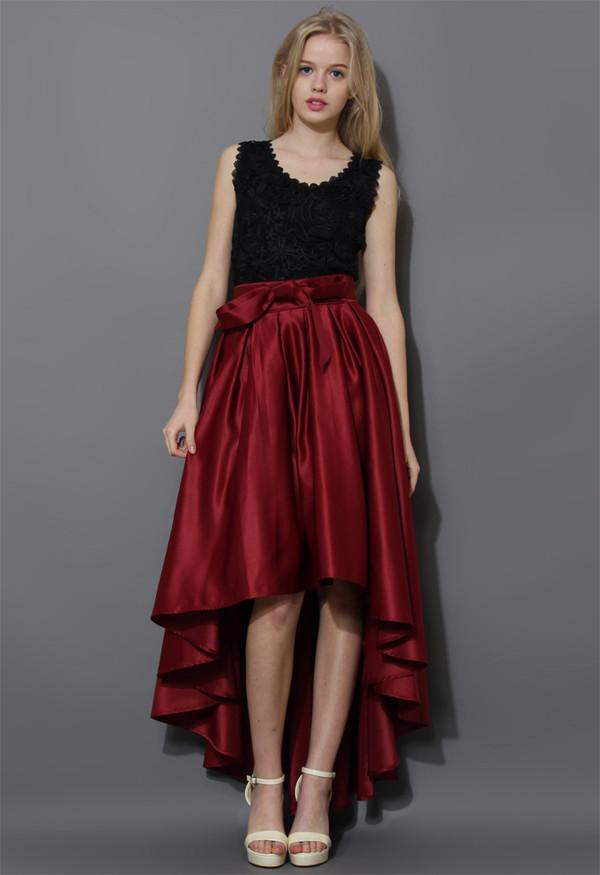 skirt bowknot asymmetrical waterfall wine red
