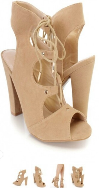 shoes heels lace up booties sandals sandal heels lace up heels camel chunky heels suede shoes open toes high heels