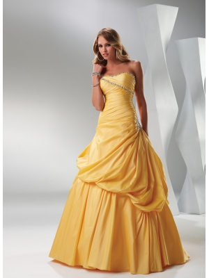 Buy Vintage Orange Ball Gown Floor Length Taffeta Prom Dress under 200-SinoAnt.com