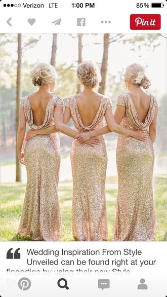 dress sequin drape gown gold sequins