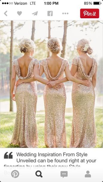 dress sequins drape gown gold sequins