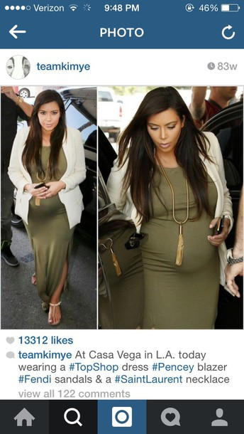 kim kardashian olive green maternity dress