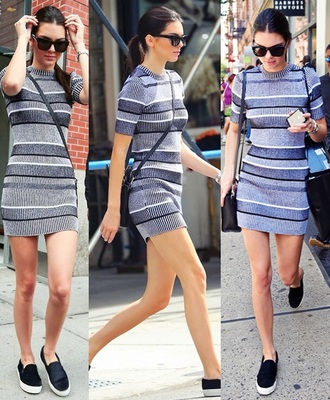 dress kendall jenner knitted dress striped dress grey dress
