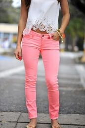 jeans,clothes,shirt,blouse,lace,white,pink,pants,scalloped edges,scalloped shirt,top,pink jeans