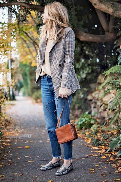 jacket tumblr blazer grey blazer check blazer bag brown bag shoes loafers snake print denim jeans blue jeans