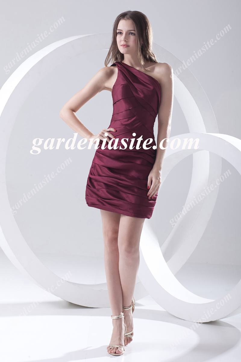 Sheath/Column One Shoulder Ruffles/Pleats Short/Mini Satin Cocktail Dress 2014 - Gardeniasite