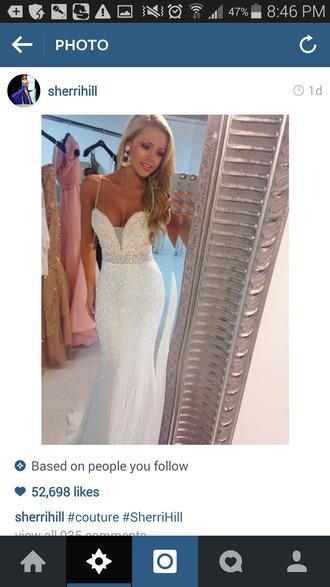 prom dress dress white dress mermaid prom dress sherri hill sequin dress long prom dress white lace dress white white prom dress long long dress prom pretty dress! white spaghetti strap sequins dress