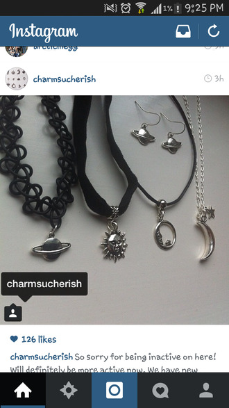 jewels charm emo goth sun stars choker necklace necklace black moon jewelry grunge grunge jewelry