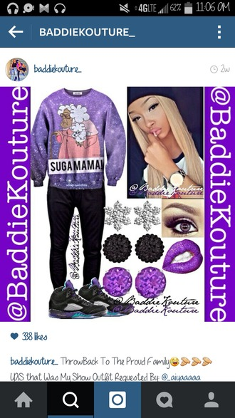 sweater baddiekouture_ outfit idea galaxy print space air jordan eye makeup purple lipstick purple outfit ootd