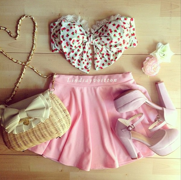 bandeau pink skirt mini skirt thick heel pink heels swimwear bikini floral bikini pink bikini summer outfits tank top skirt shoes bag cute bows blouse love beautiful outfit idea