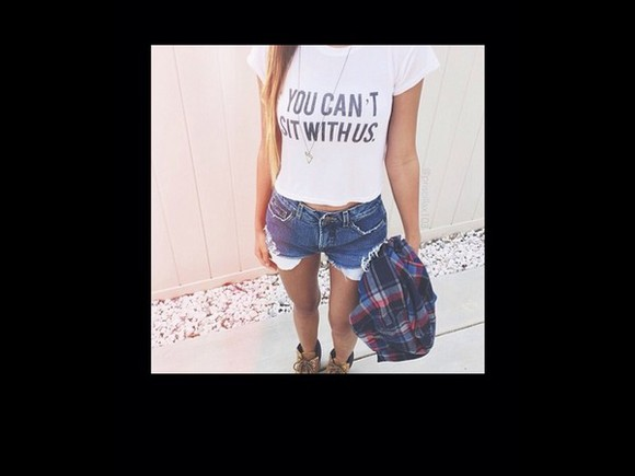 top high waisted High waisted shorts denim shorts graphic tee