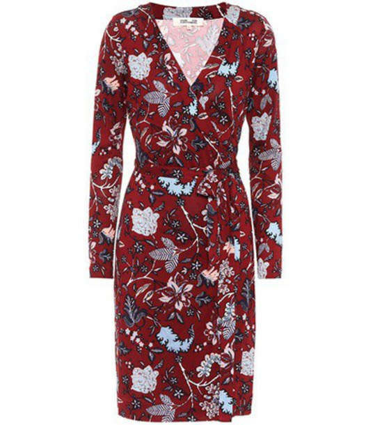 dress silk dress floral silk red
