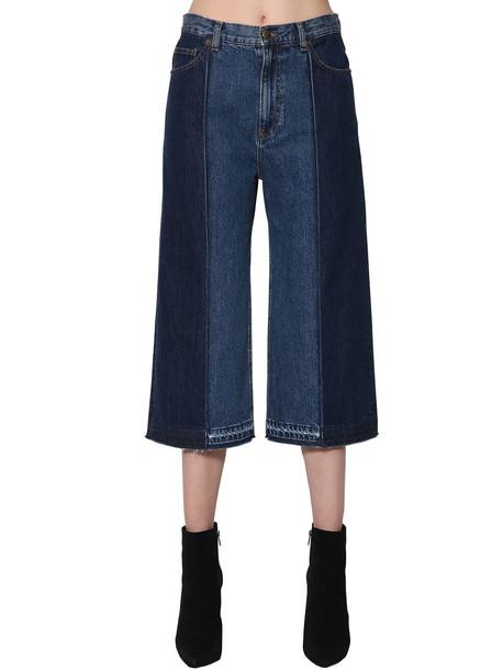 jeans denim patchwork cropped blue