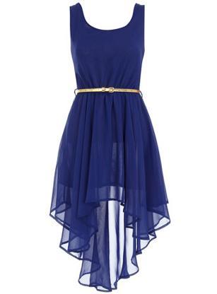 Aysmmetric royal blue dress