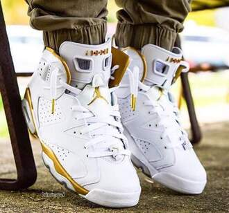 shoes white and gold retro 6 jordan youth size jordans white sneakers high top sneakers