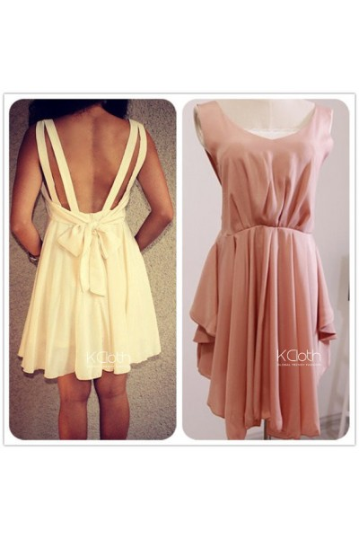 KCLOTH Double Strap Dress with Back Bow D1359