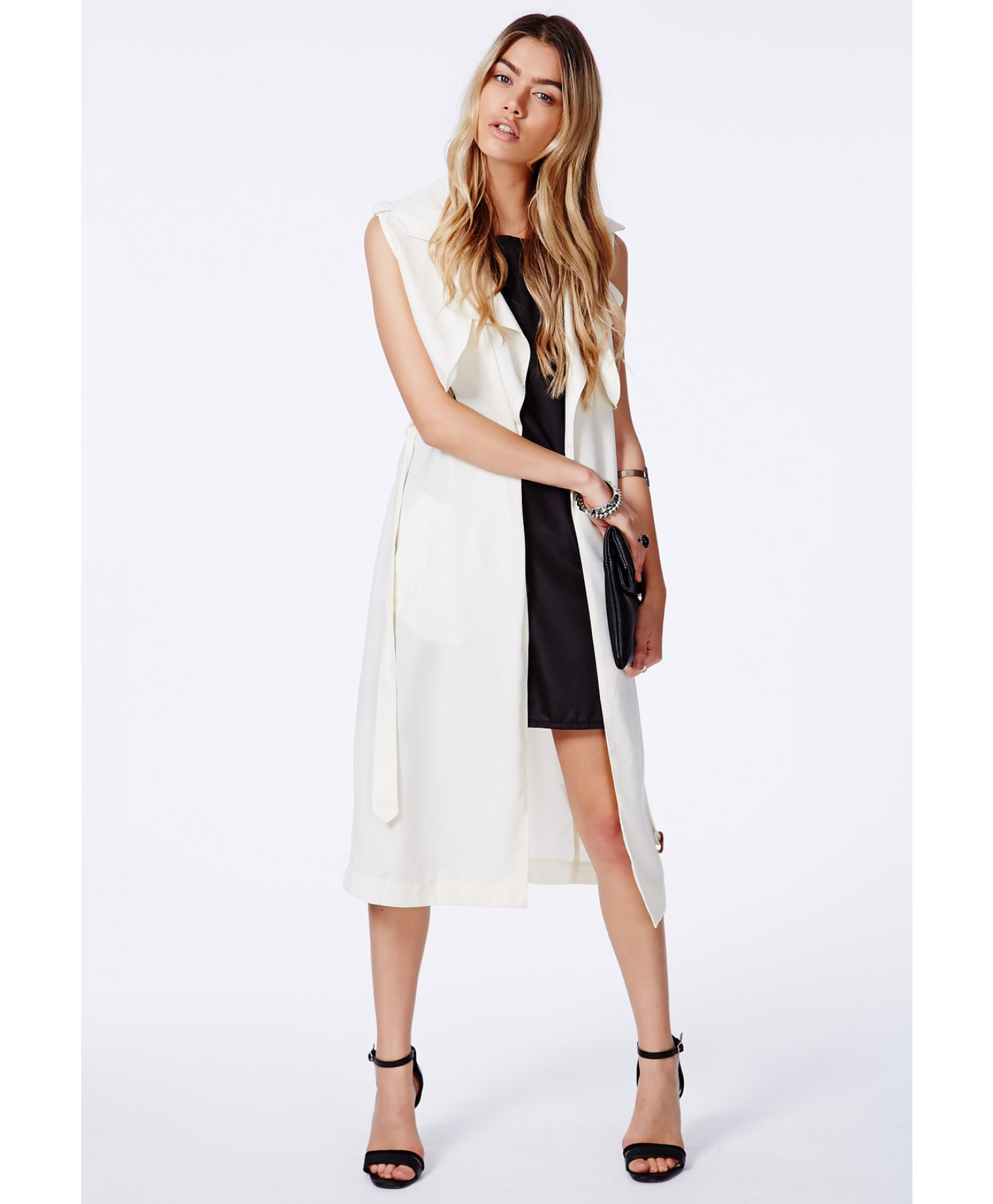 Missguided - Arabela Cream Sleeveless Lightweight Trench Coat