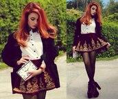 skirt,vinous,gold,red