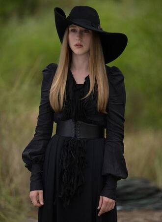 dress clothes black dress black hat celebrity celebrity style hat american horror story grunge goth black
