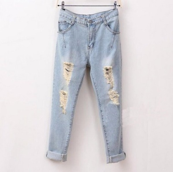 pants boyfriend jeans jeans pants light blue summer cute