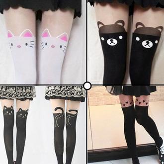 heart black socks tattoo cats bear stockings