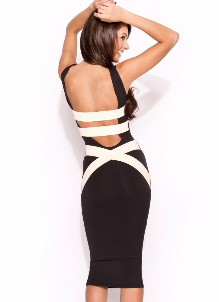 Q1056 quontum peach/nude strap midi backless dress