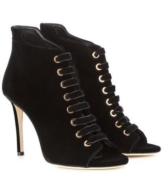 open 100 boots ankle boots velvet black shoes