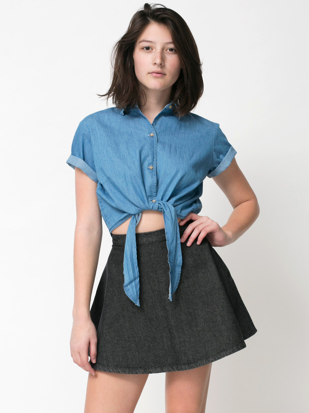 Denim Mid-Length Tie-Up Blouse | American Apparel