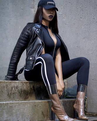 shoes transparent boots transparent transparent shoes clear boots clear boots high heels boots black jumpsuit jumpsuit bodycon jumpsuit jacket black leather jacket leather jacket black jacket cap black cap