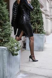 the classy cubicle,blogger,dress,jacket,shoes,tights,bag,sequin dress,black dress,party dress,high heel pumps,black heels,fur coat
