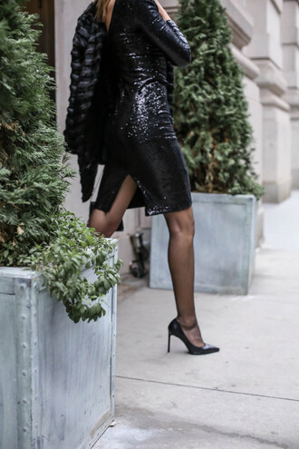 the classy cubicle blogger dress jacket shoes tights bag sequin dress black dress party dress high heel pumps black heels fur coat