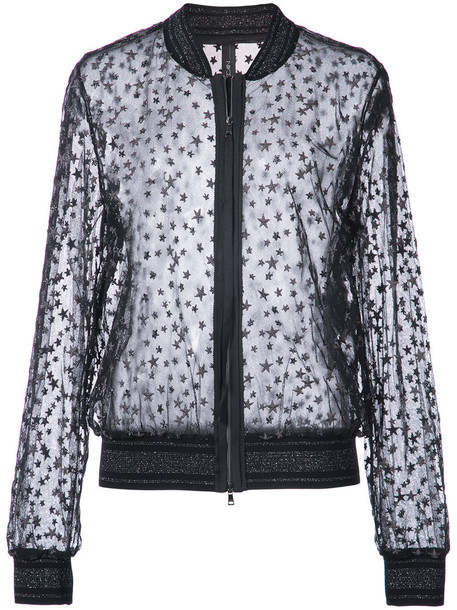 Marc Cain - embroidered star jacket - women - Cotton/Polyamide/Polyester/Polyimide - 34, Black, Cotton/Polyamide/Polyester/Polyimide