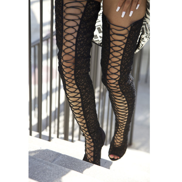 shoes thigh high boots ziginy lace thigh highs lace up
