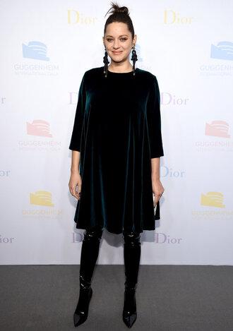 dress marion cotillard french actress celebrity style celebrity velvet velvet dress midi dress green dress boots black boots