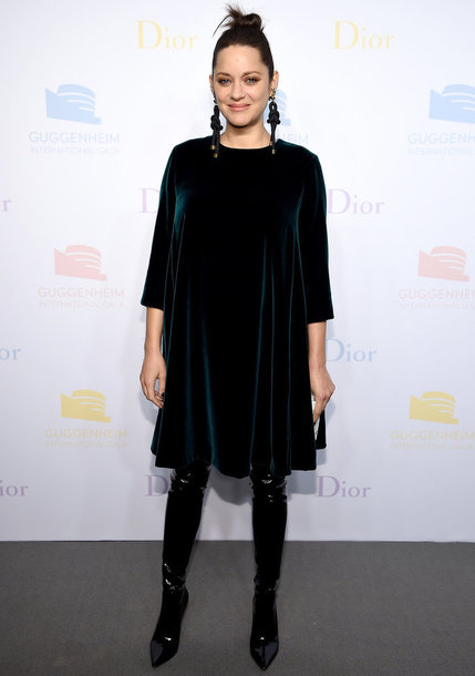dress marion cotillard french actress celebrity style celebrity velvet velvet dress midi dress green dress boots black boots