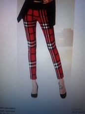 pants,tartan,pencil pants