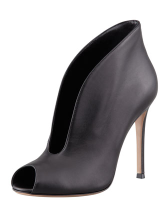 Gianvito Rossi Flared Split-Front Peep-Toe Ankle Boot, Black