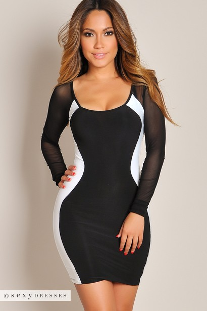 Sexy black and white dress